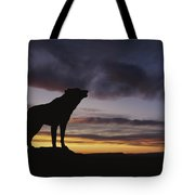 Howling Wolf Silhouetted Against Sunset Tote Bag