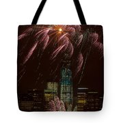 Hudson River Fireworks X Tote Bag by Clarence Holmes