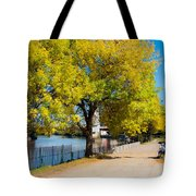 Hudson Riverside Autumn Scenery In Troy  New York Tote Bag
