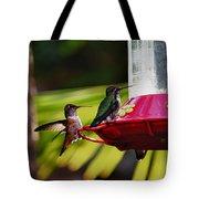 Hummingbirds At The Feeder Tote Bag