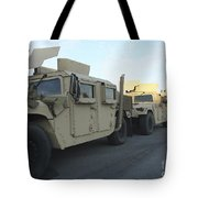 Humvees Sit On The Pier At Morehead Tote Bag