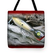 Husband Anniversary Card - Saltwater Fishing Lure - Popper Tote Bag