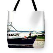 Hyannis Lighthouse And Fishing Boat Tote Bag