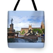 Hyde Park Fountain And St. Mary's Cathedral Tote Bag