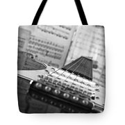 Ibanez Six String Black And White Tote Bag