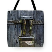 Ice Crystals On Wooden Gate Tote Bag