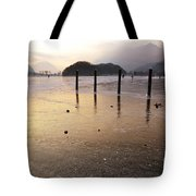 Ice On A Lake In Sunset Tote Bag