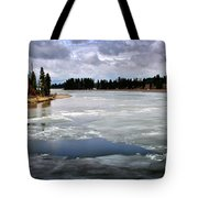 Ice On The Yellowstone River Tote Bag