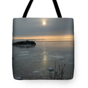 Icey Shore Black Beach Tote Bag