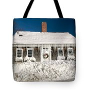 Icicles Hang From The Roof Of This Home In Barnstable On Cape Co Tote Bag