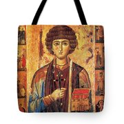 Icon Of Saint Pantaleon Tote Bag by Science Source