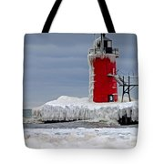 Icy South Haven Mi Lighthouse Tote Bag