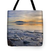 Icy Sunset On Utah Lake Tote Bag