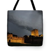 Illuminated Castle At Night Tote Bag