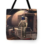 Illustration Of An Astronaut Leaving Tote Bag by Walter Myers