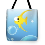 Illustration Of Fish And Bubbles Tote Bag