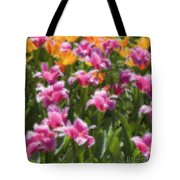 Impressionist Tulips In A Field Tote Bag
