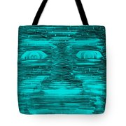 In Your Face In Neagtive Turquois Tote Bag