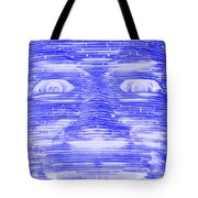 In Your Face In Negative Blue Tote Bag