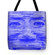 In Your Face In Negative Light Blue Tote Bag