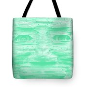 In Your Face In Negative Light Green Tote Bag