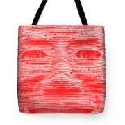In Your Face In Negative Light Red Tote Bag