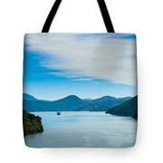 Incoming Ferry Through A Fjord  Tote Bag