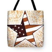 Independence Day Star Usa Flag Coffee Painting Tote Bag by Georgeta  Blanaru
