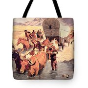 Indians Attacking A Pioneer Wagon Train Tote Bag by Frederic Remington