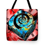 Infinity Time Cube Blue On Red Tote Bag
