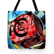 Infinity Time Cube Red On Blue Tote Bag