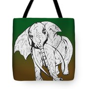 Inked Elephant In Green And Brown Tote Bag