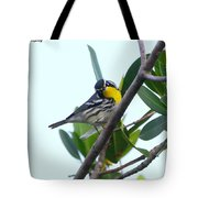 Inquisitive Yellow Throated Warbler Tote Bag