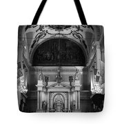 Inside St Louis Cathedral Jackson Square French Quarter New Orleans Black And White Tote Bag