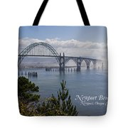 Into The Fog At Newport With Text Tote Bag