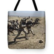 Iraqi Army Soldiers Move To Positions Tote Bag