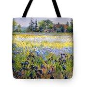 Irises And Two Fir Trees Tote Bag