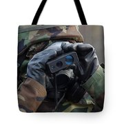 Irman Uses A Range Finder To Determine Tote Bag by Stocktrek Images