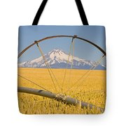 Irrigation Pipe In Wheat Field With Tote Bag