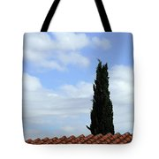 Italian Cyress And Red Tile Roof Rome Italy Tote Bag