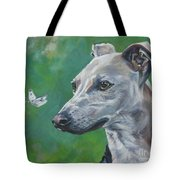 Italian Greyhound With Cabbage White Butterflies Tote Bag
