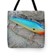 J And J Flop Tail Vintage Saltwater Fishing Lure - Blue Tote Bag