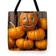 Jack-o-lantern On Stack Of Pumpkins Tote Bag