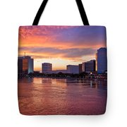 Jacksonville Skyline At Dusk Tote Bag by Debra and Dave Vanderlaan