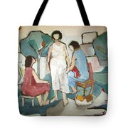 Jaffa Ladies Impressions Of Women Sitting Outside In Nature Trees Chair Stool Talking Green White  Tote Bag