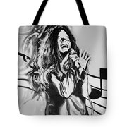 Janis In Black And White Tote Bag