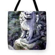 Japanese Garden Lion Dog Statue 1 Tote Bag
