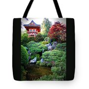Japanese Garden With Pagoda And Pond Tote Bag
