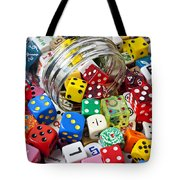 Jar Spilling Dice Tote Bag by Garry Gay