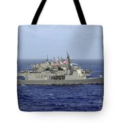 Jds Atago Sails In Formation With U.s Tote Bag